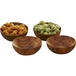 Teak Cocktail Bowls (Set of 4)