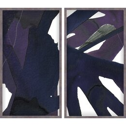 Jasper Graphite Diptych 2 Piece Framed Painting Print Set
