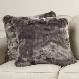 Faux Fur Fox Throw Pillow (Set of 2)