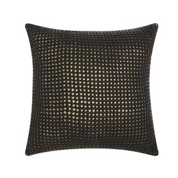 Woven Metallic Leather Throw Pillow