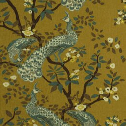 Vintage Plumes Fabric - Camel