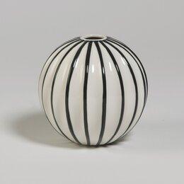 Ribbed Globe Vase  in White with Black
