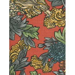 Ming Dragon Fabric - Persimmon