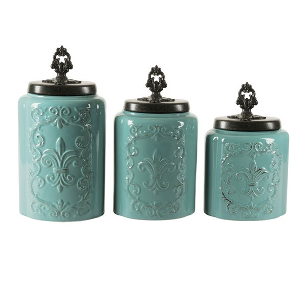 3 piece erin canister set in blue joss amp main martha stewart collection blue canisters set of 4 thisnext