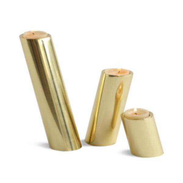 DwellStudio 3 Piece Slanted Brass Candle Holder Set