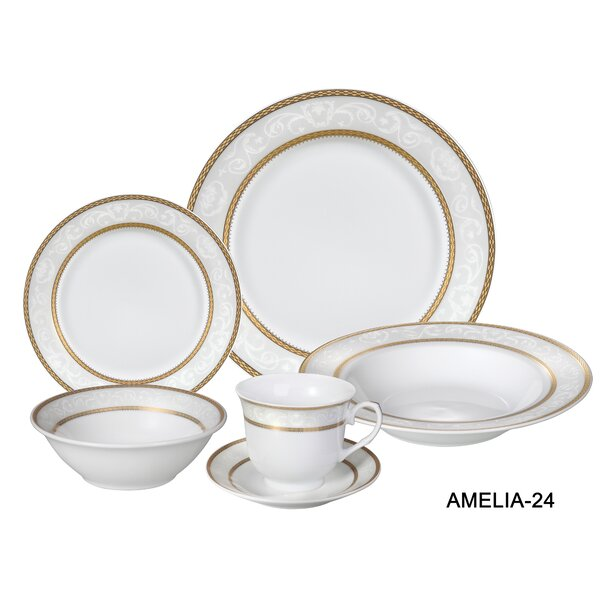 24 Piece Amelia Porcelain Dinnerware Set Joss Main