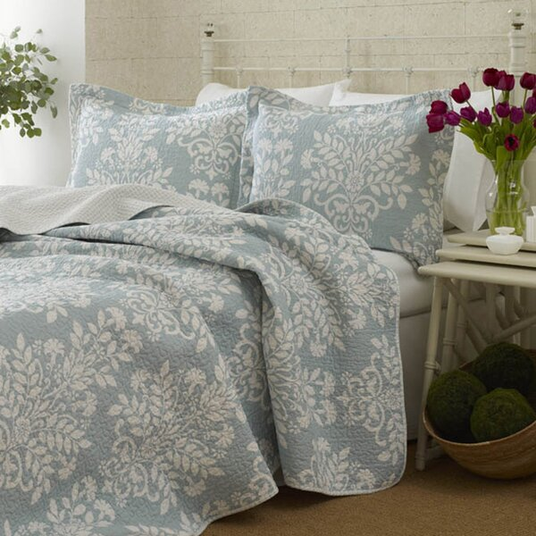 Rowland Quilt Set By Laura Ashley In Blue Breeze Amp White
