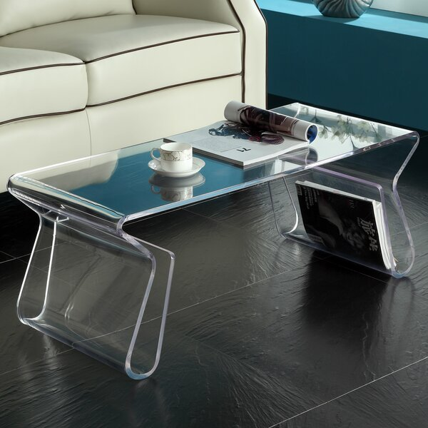 Cascade acrylic coffee table joss main for Clear lucite acrylic coffee table