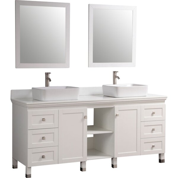 "72"" Double Solid Wood Bathroom Vanity Set with Mirror"