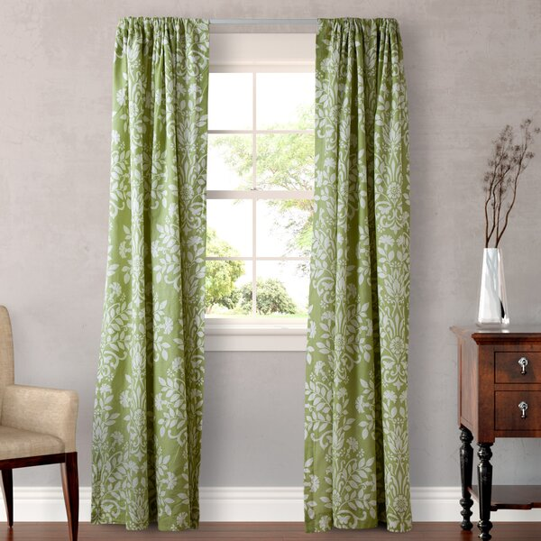 Botanical Rod Pocket Curtain Panel In Green By Laura