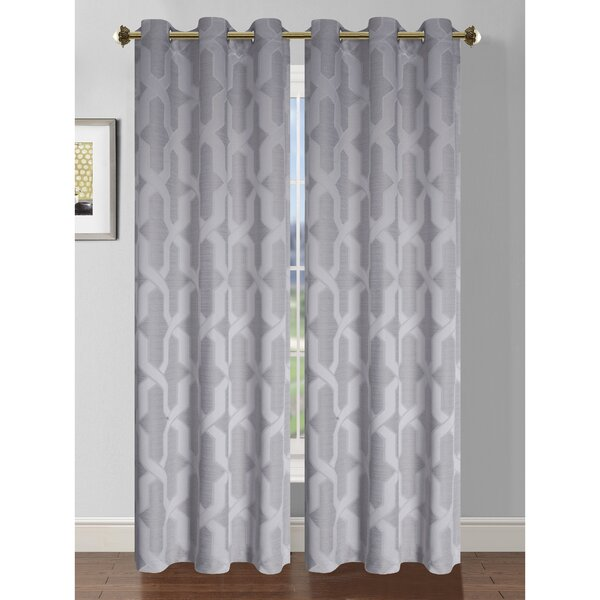 Drona Room Darkening Woven Jacquard Thermal Lined Grommet Curtain ...