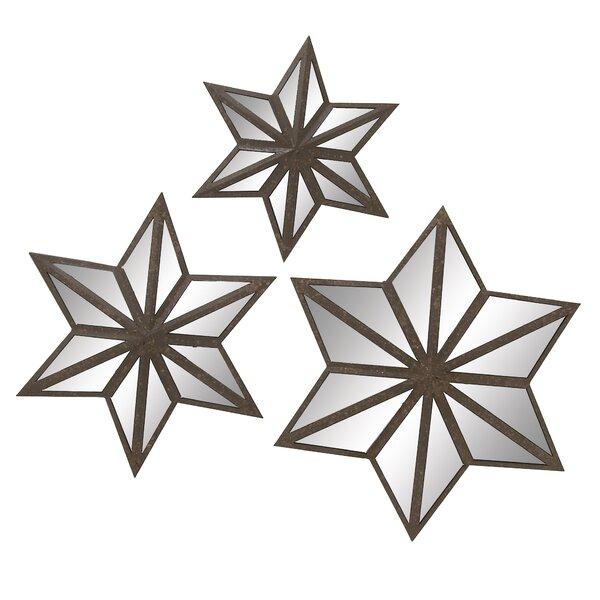 Mirrored Star Wall Decor: 3-Piece Metal Star Wall Decor Set
