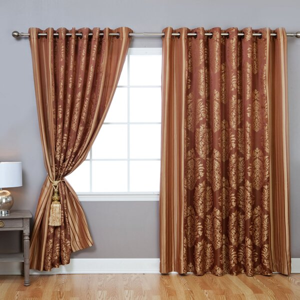 Wide Width Damask Jacquard Grommet Curtain Panels | Joss & Main