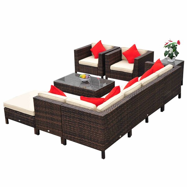 9 Piece Lounge Seating Group with Cushion Joss amp Main : Outsunny2B9 Piece2BOutdoor2BPE2BRattan2BWicker2BSectional2BPatio2BSofa2BChair2BSet from www.jossandmain.com size 600 x 600 jpeg 72kB