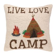 Live Love Camp Hook Wool Throw Pillow