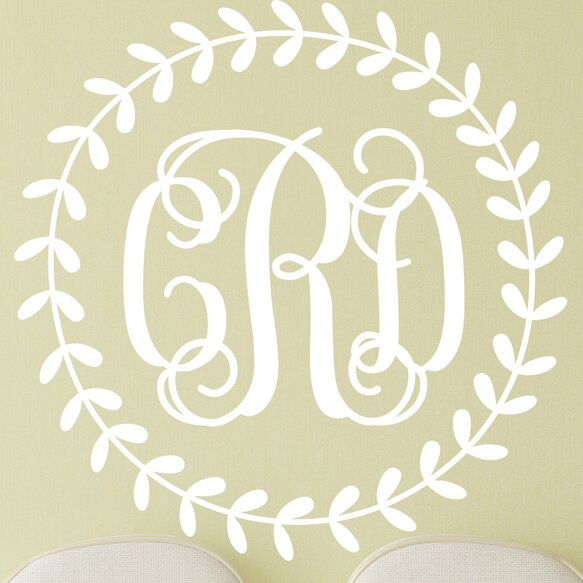Rustic Monogram Wall Decor : Rustic wreath interlock monogram personalized wall decal