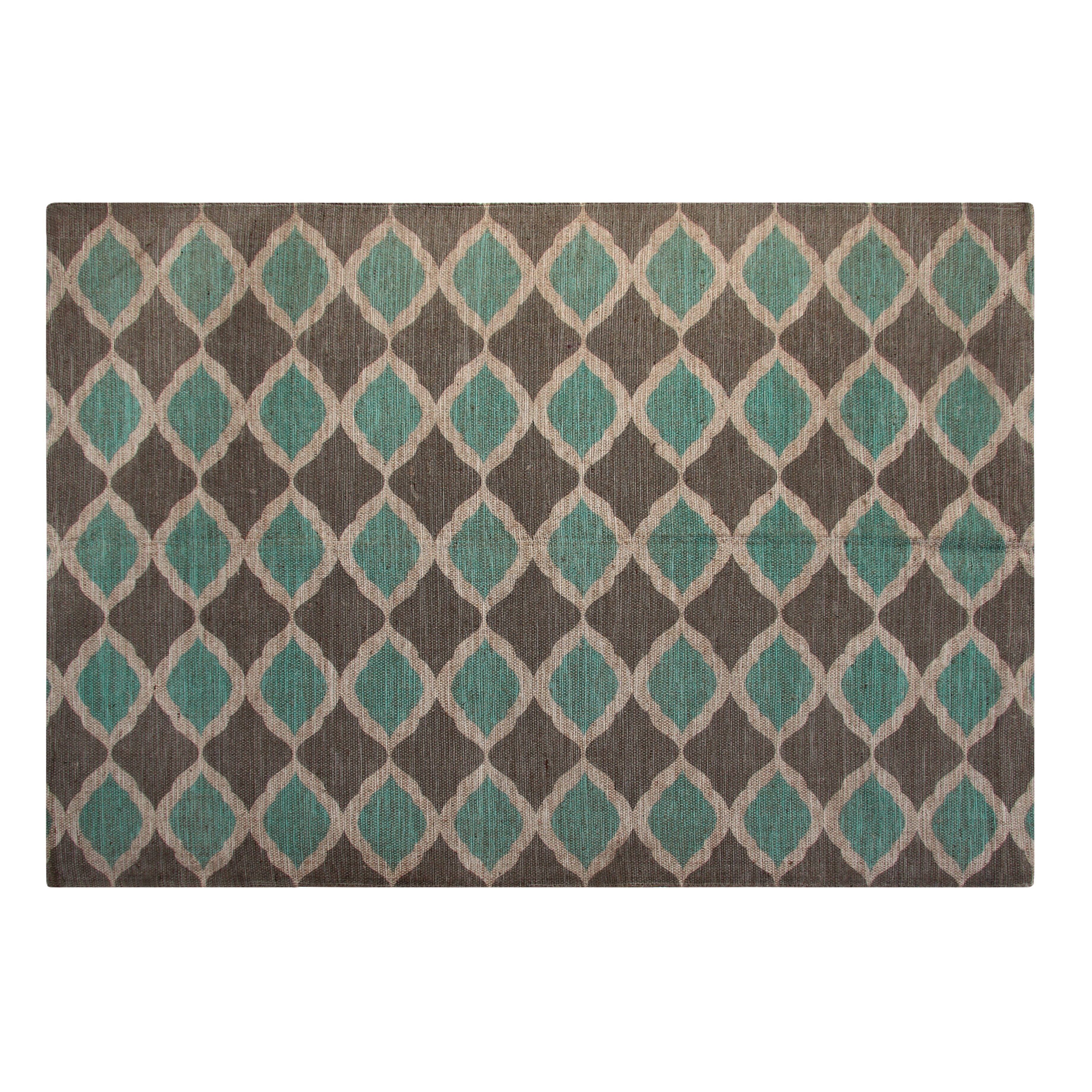 Printed Turquoise and Taupe Matrix Geometric Outdoor Area