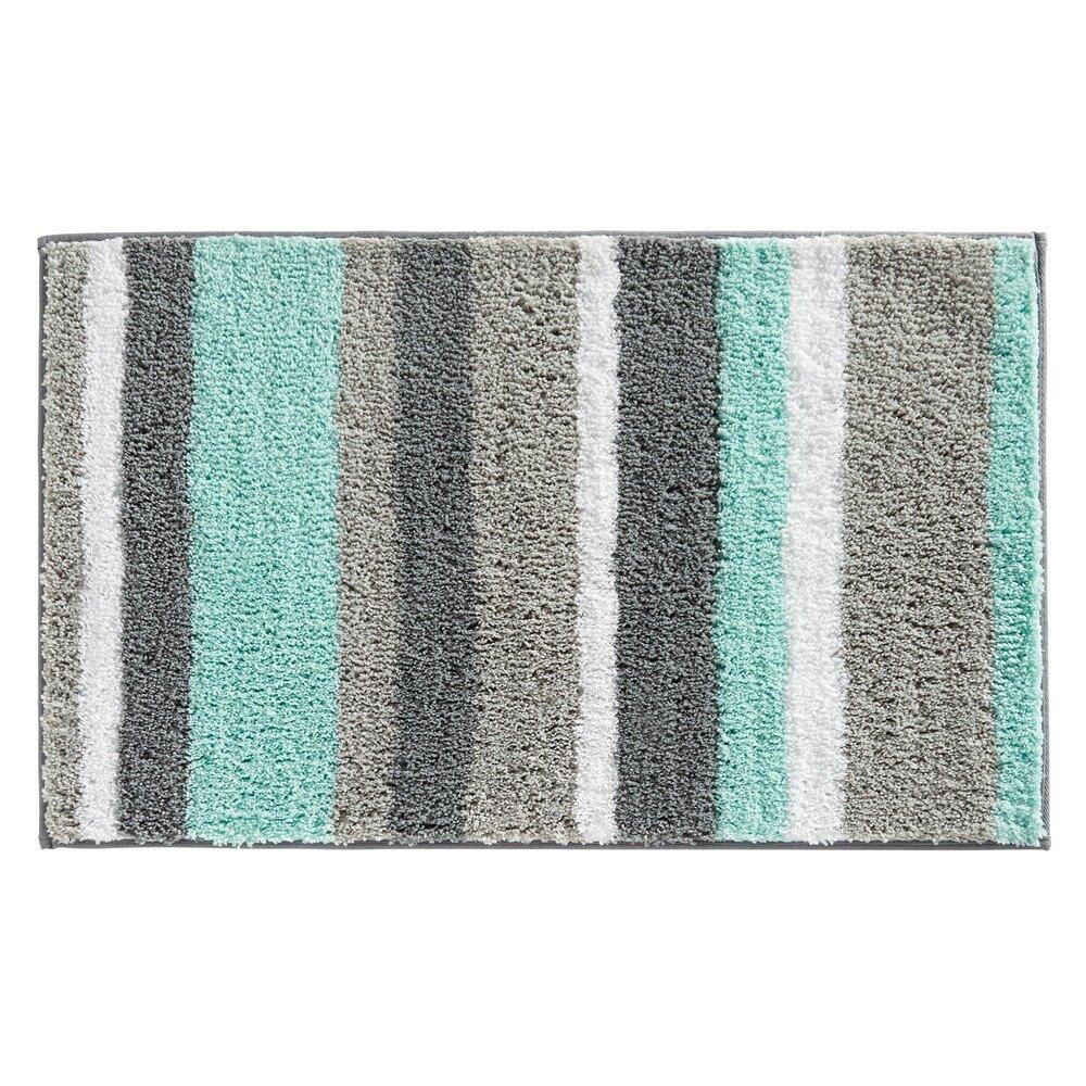 Interdesign Microfiber Bathroom Shower Accent Rug: Rain Microfiber Stripes Shower Accent Bath Rug