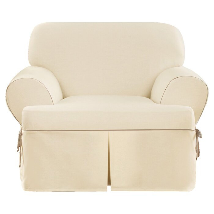 Sure Fit Cotton Duck Armchair T-Cushion Slipcover ...