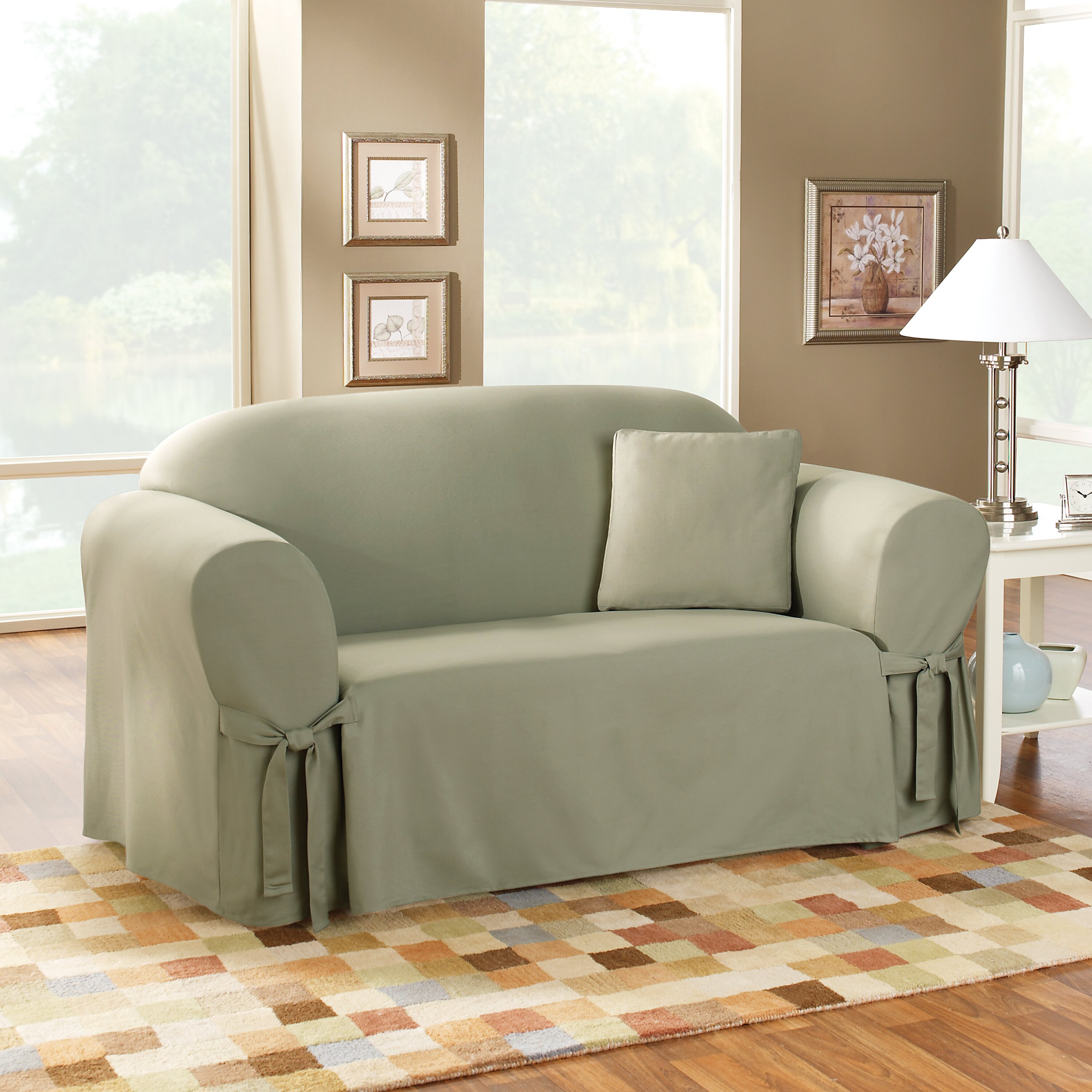 Sure Fit Cotton Duck Sofa Skirted Slipcover & Reviews