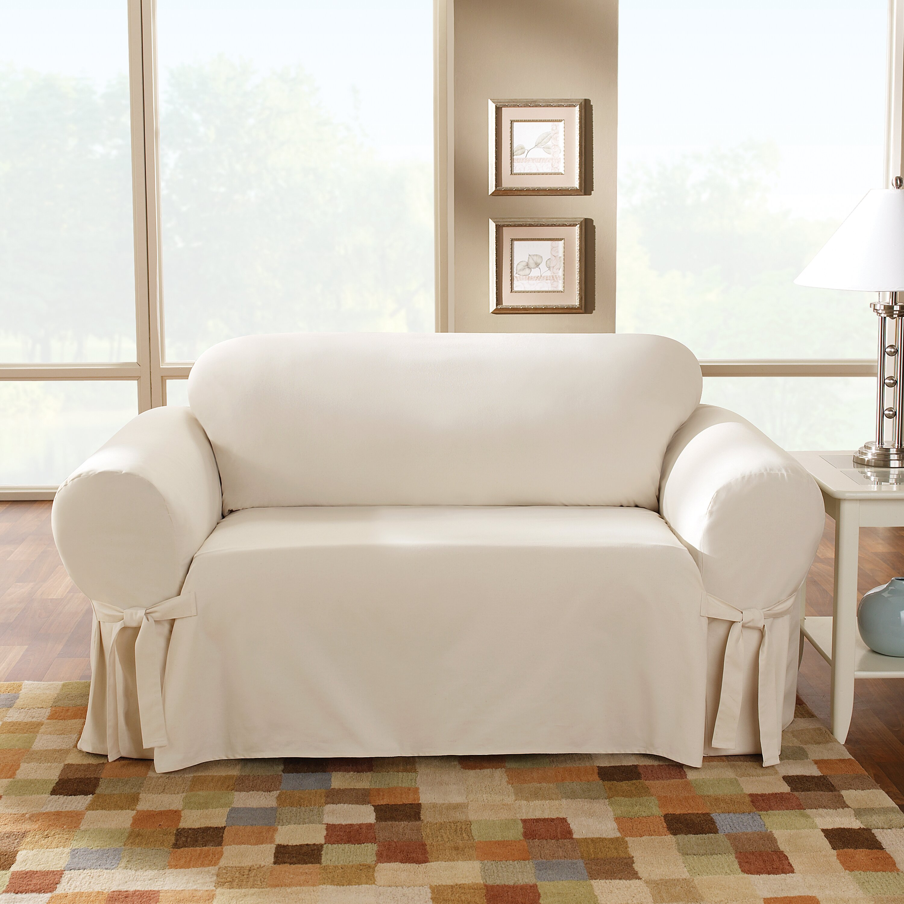 Sure Fit Cotton Duck Sofa Skirted Slipcover Amp Reviews