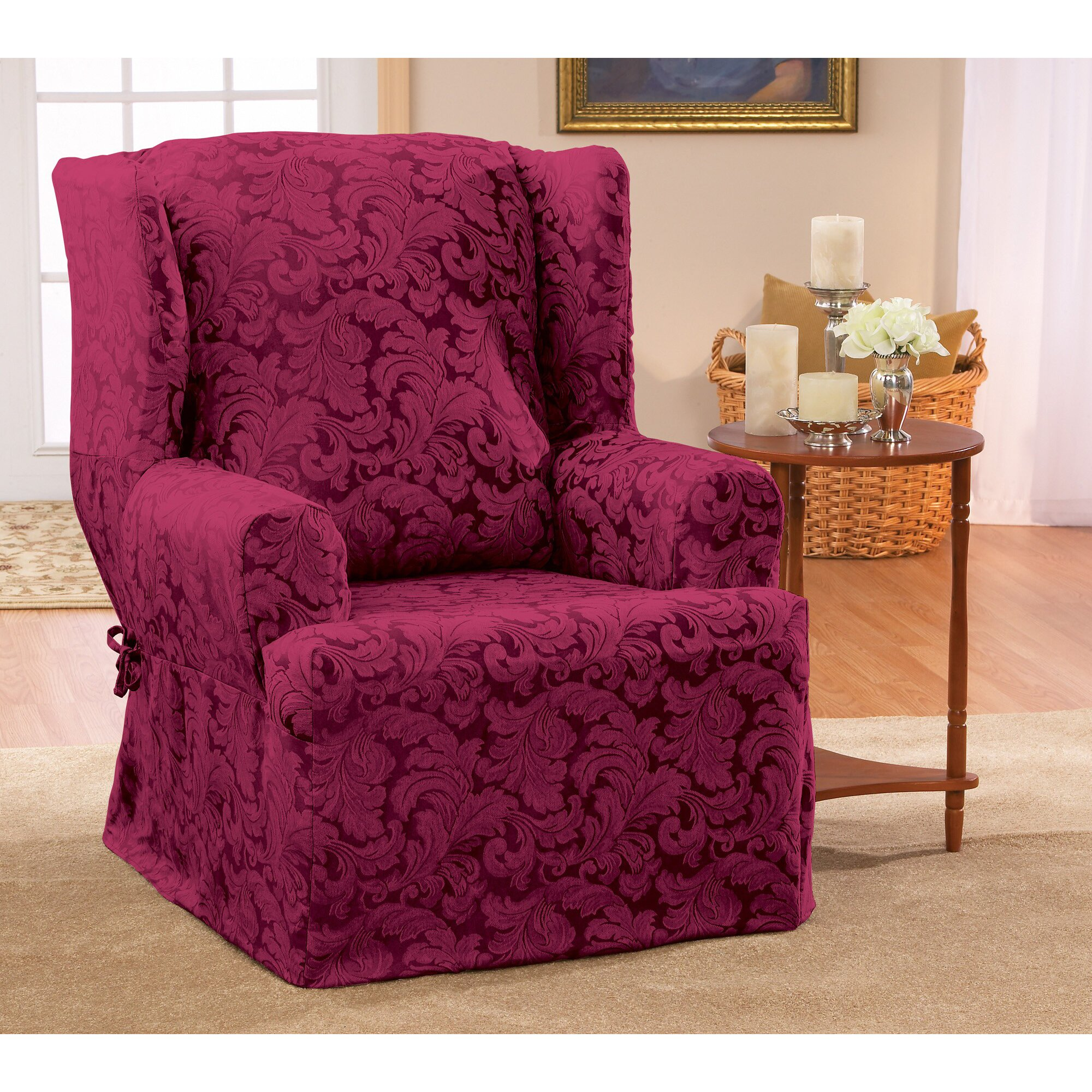 Wingback Chair Slipcovers Pottery Barn: Sure Fit Scroll Classic Wing Chair T Cushion Skirted