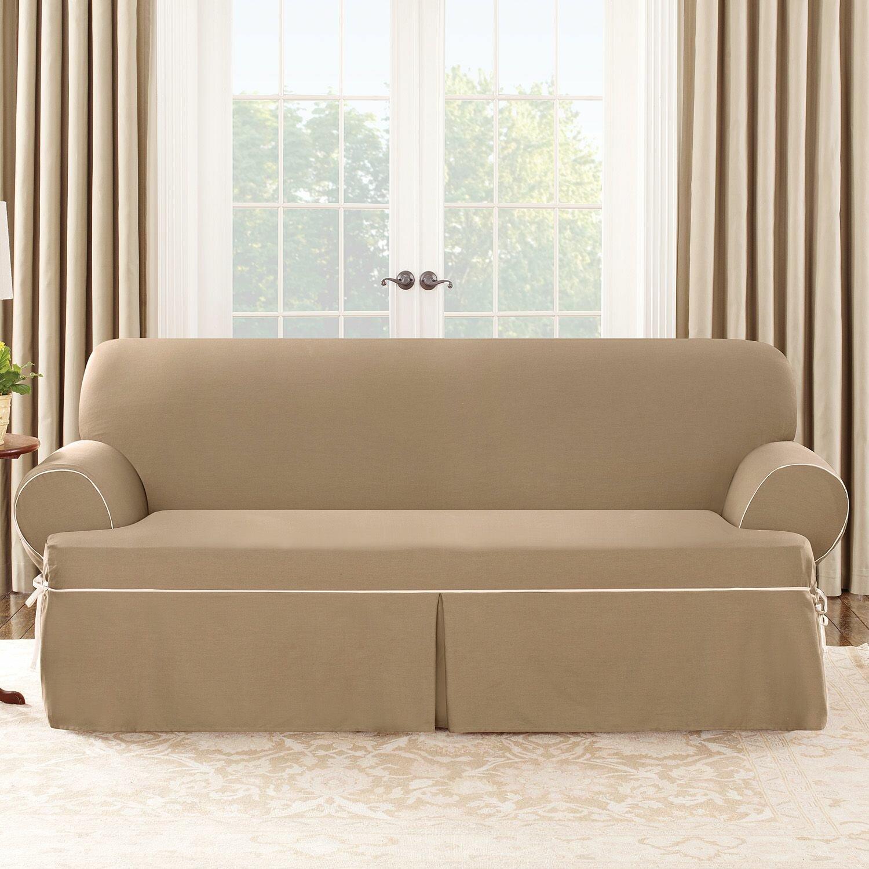 T Cushion Sofa Slip Cover: Cotton Duck Sofa T-Cushion Slipcover
