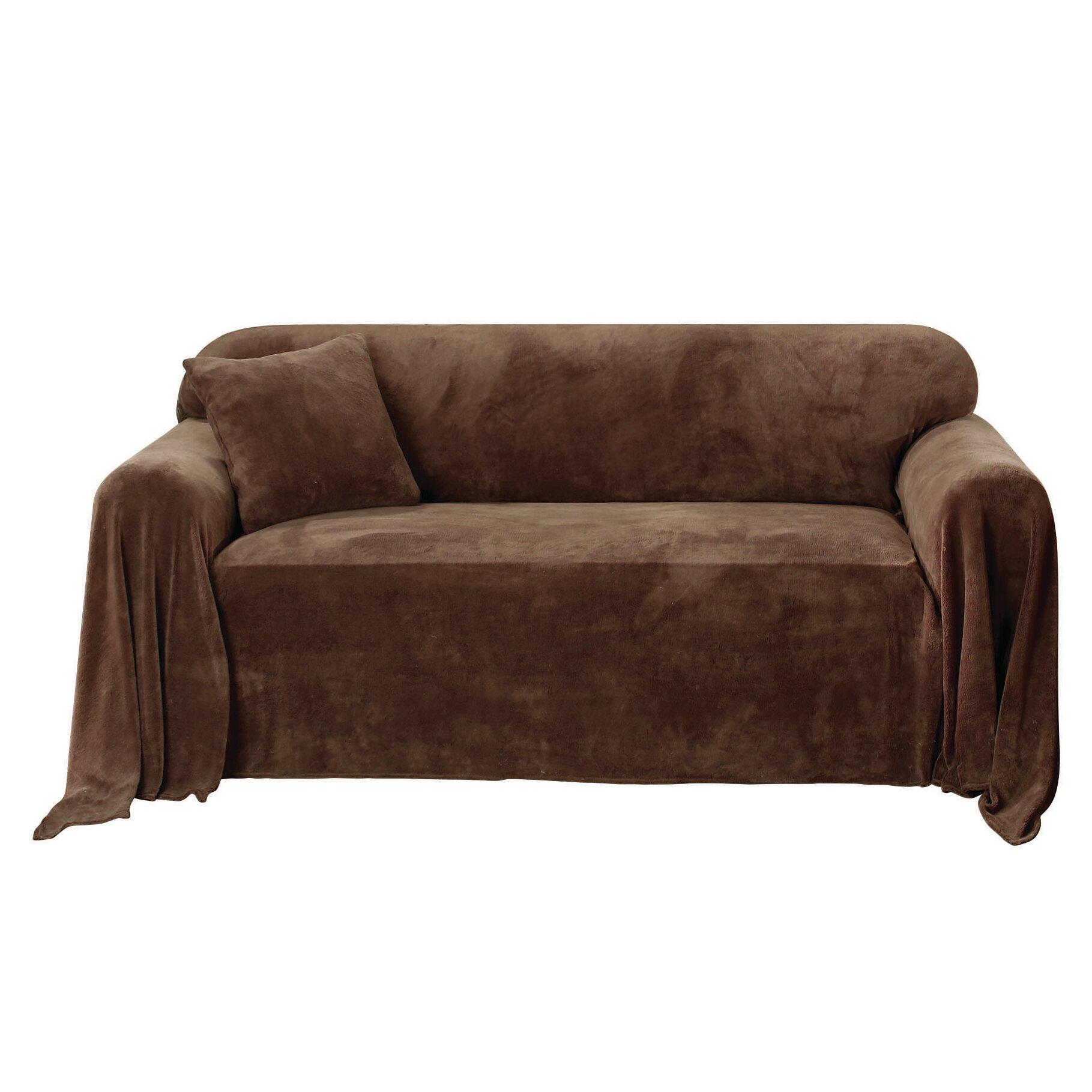 sure fit plush throw sofa slipcover reviews wayfair. Black Bedroom Furniture Sets. Home Design Ideas