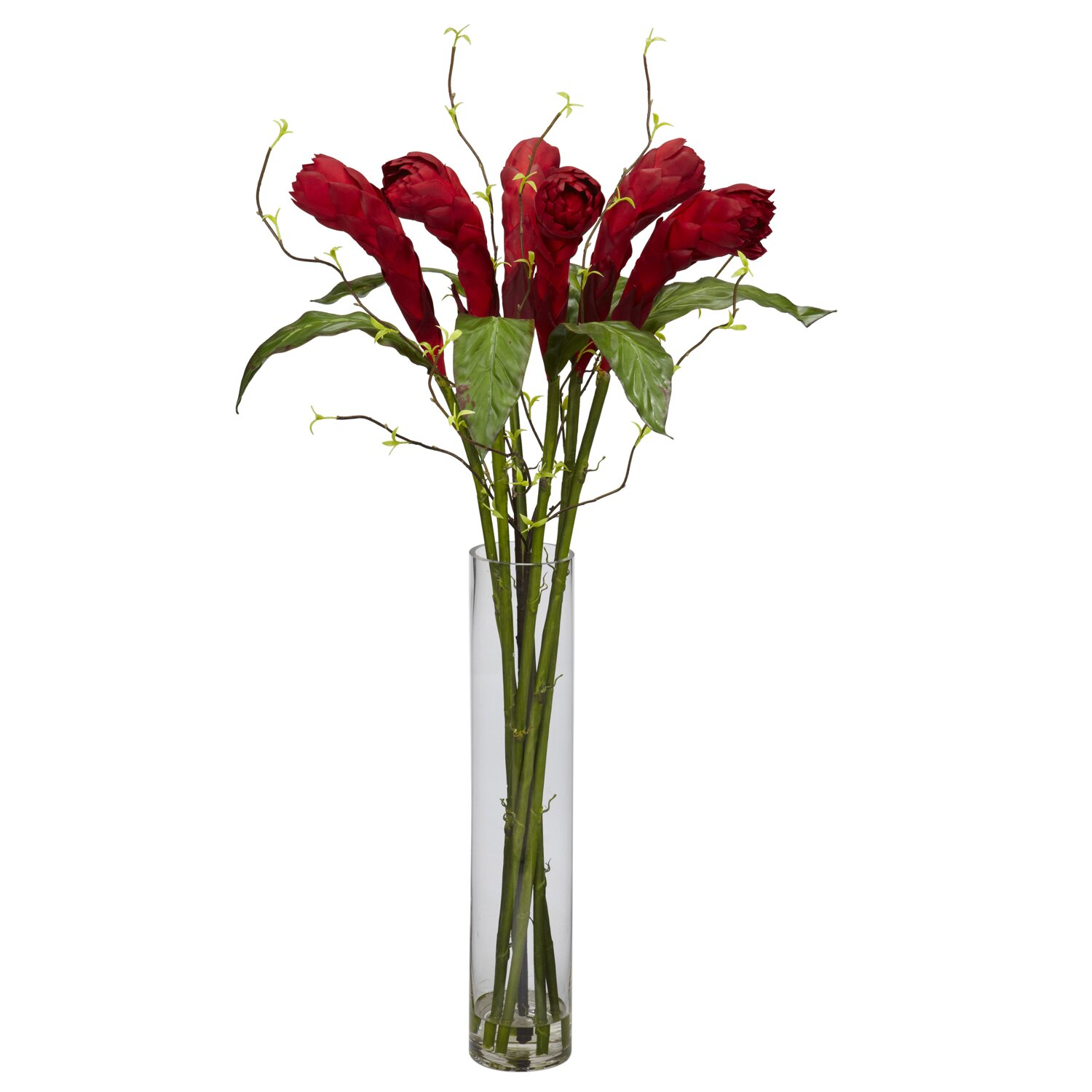 Ginger with cylinder vase silk flower arrangement wayfair - Flower arrangements for vases ...