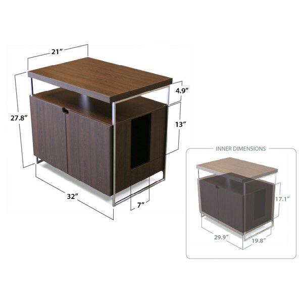 Large cat litter box hider wayfair - Modern kitty litter box ...