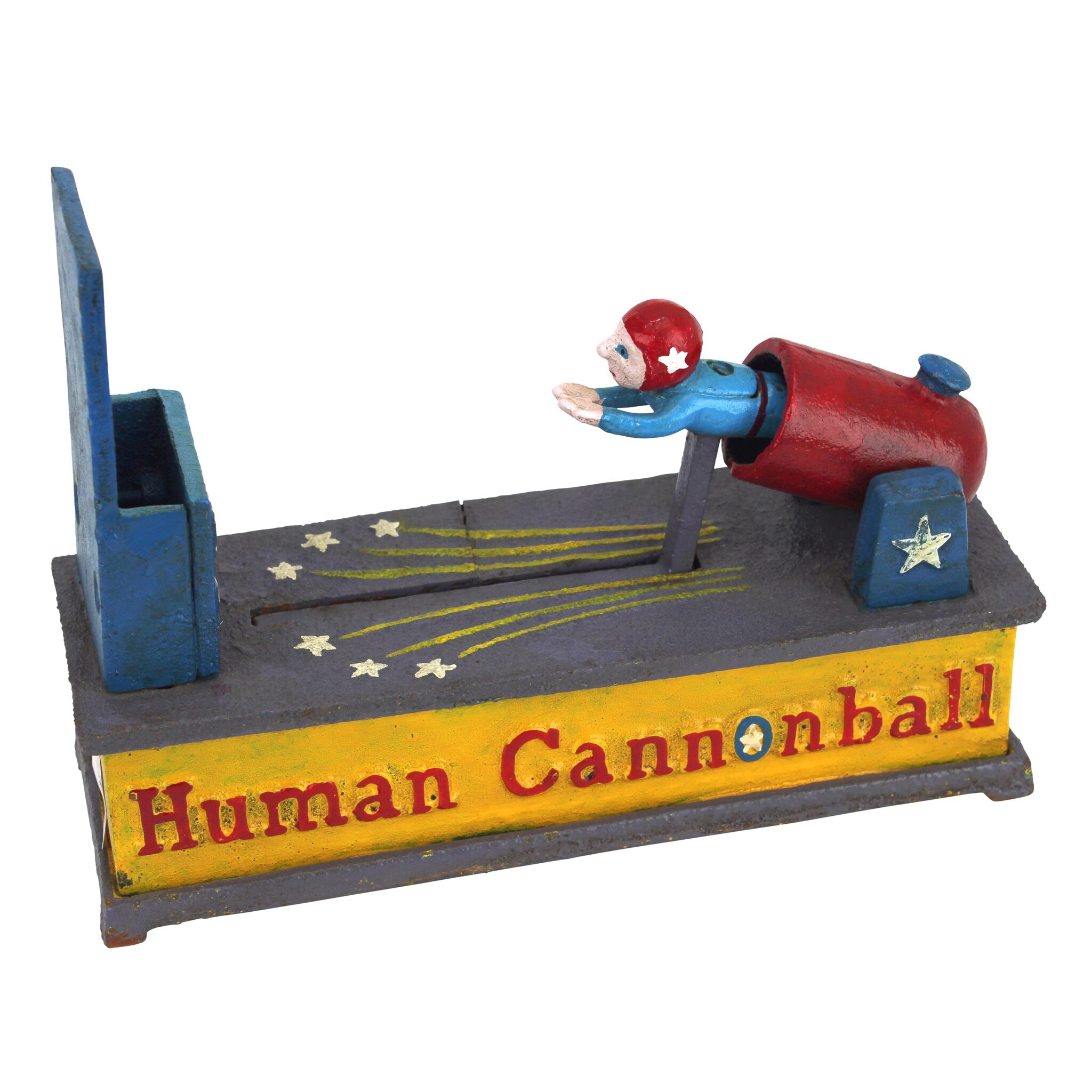Human cannonball die cast iron mechanical coin bank wayfair Coin sorting bank for kids