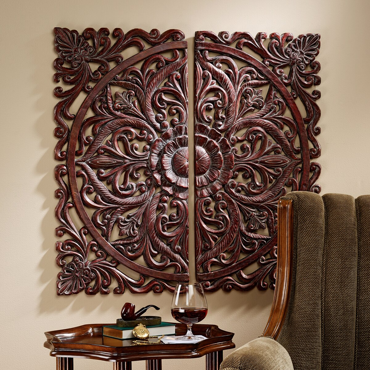 design toscano 2 piece carved rosette architectural wall deacute