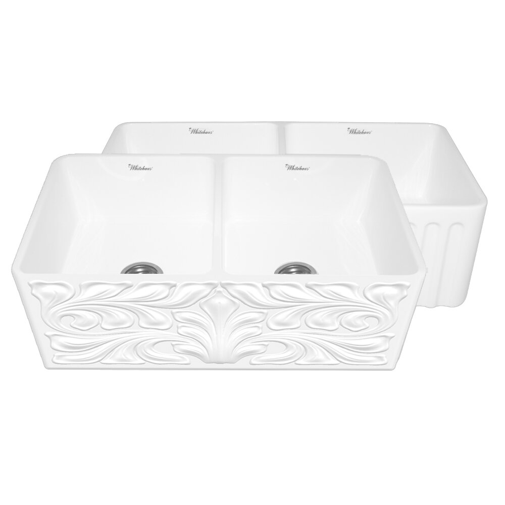 whitehaus collection gothichaus ampquot x ampquot reversible double bowl fireclay kitchen sink fixtures fireclay french: stainless steel sink racks ampquot whitehaven