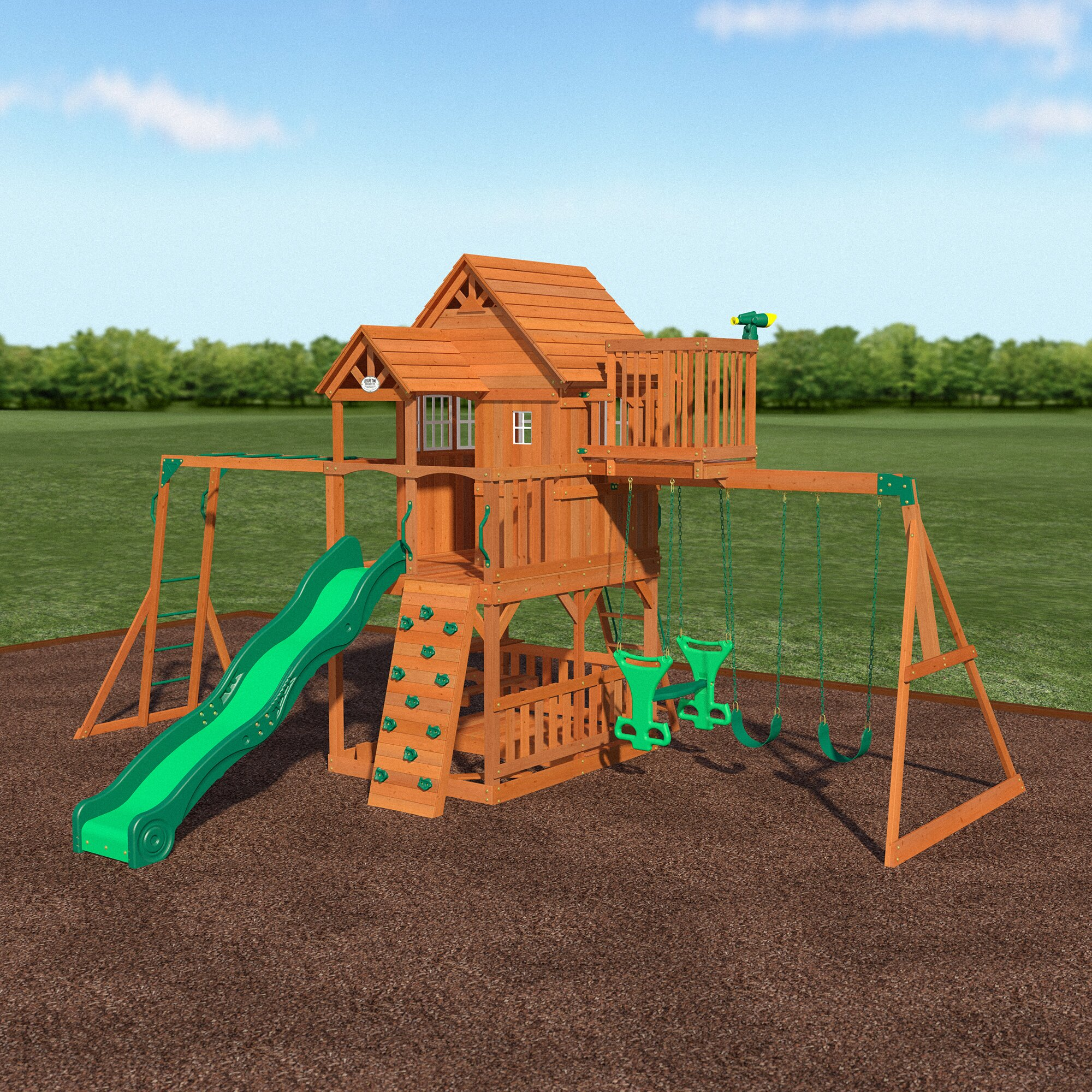 backyard discovery skyfort all cedar swing set reviews wayfair