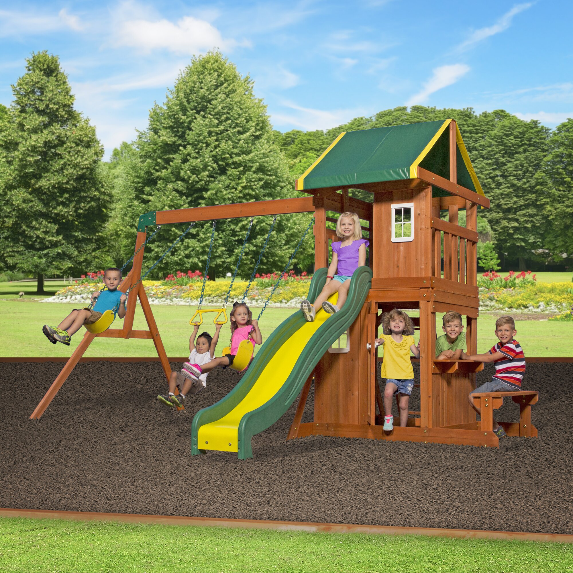 backyard discovery oakmont all cedar swing set reviews wayfair