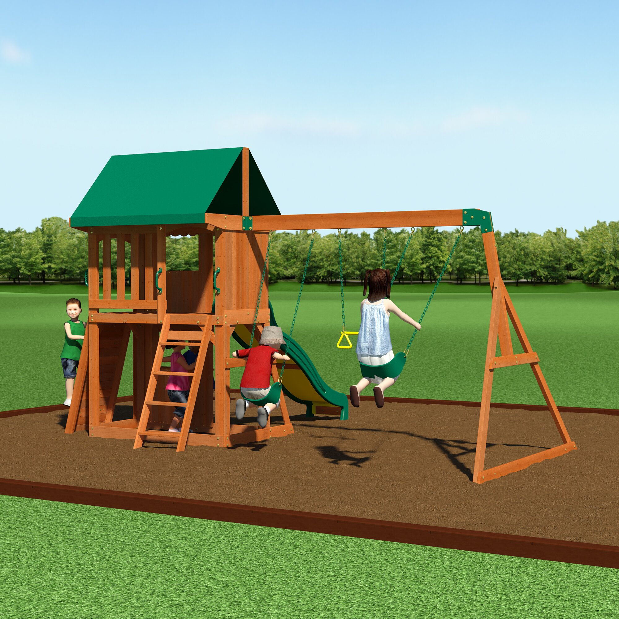 Backyard Discovery Somerset Swing Set & Reviews | Wayfair