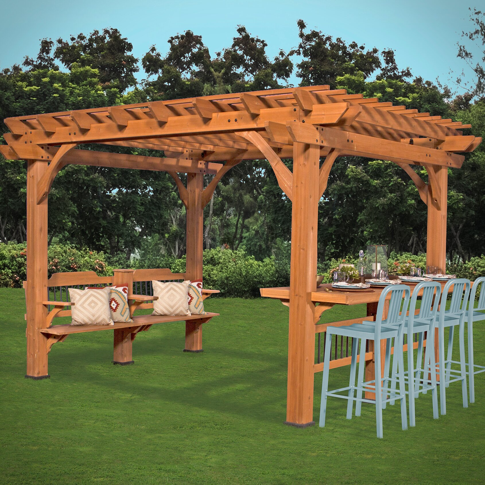 Oasis 12 Ft W X 10 Ft D Pergola Wayfair