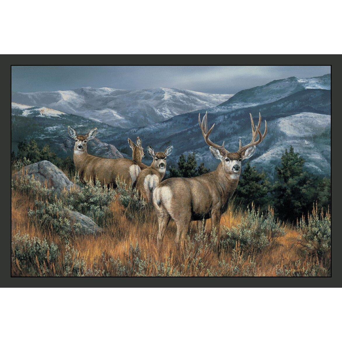 Game Area Rugs: Wildlife Last Glance Mule Deer Novelty Outdoor Area Rug