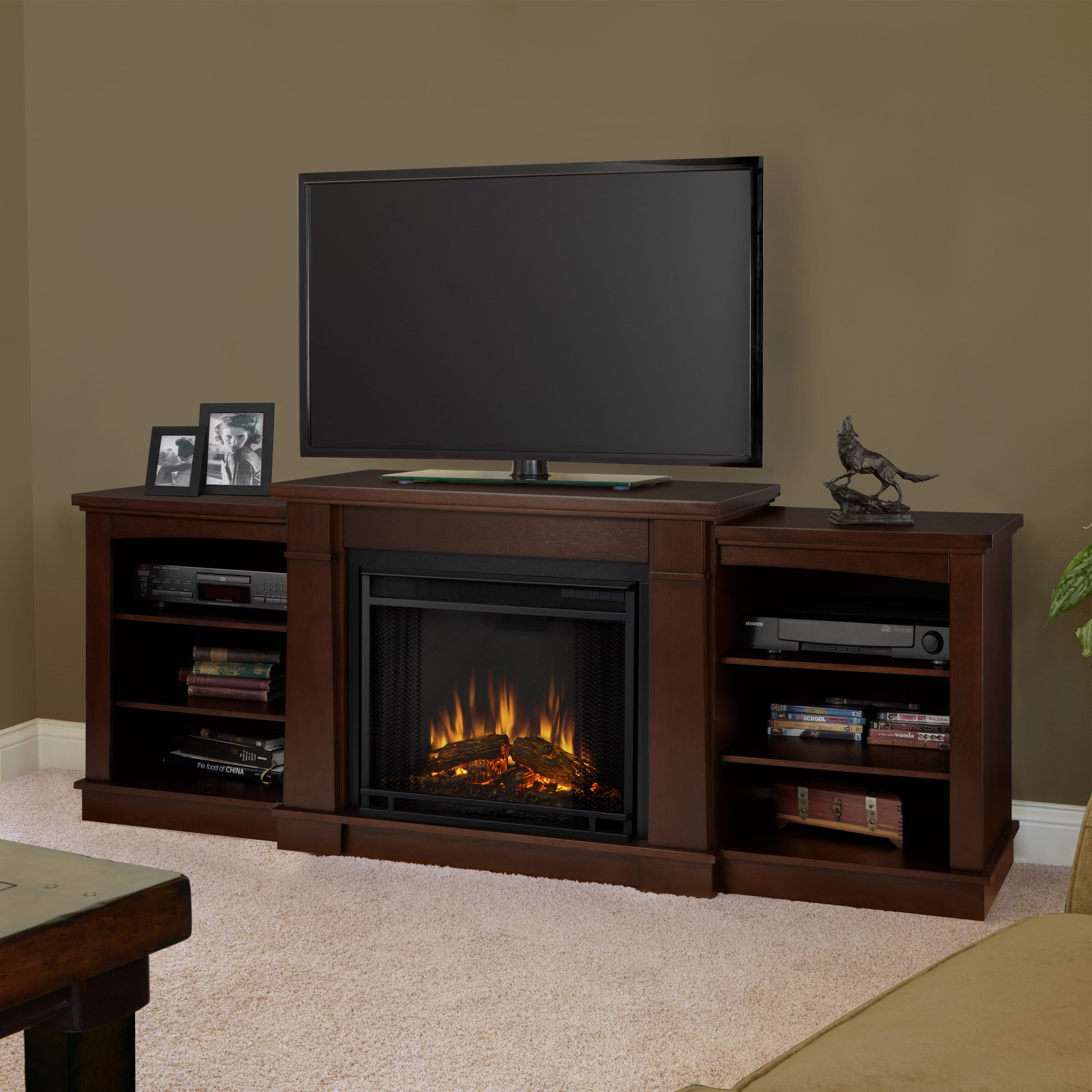 hawthorne tv stand with electric fireplace by real flame