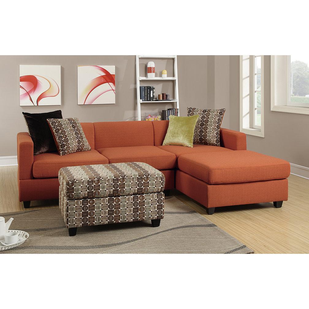 Poundex Sectional White Leather Sofa Chaise: Poundex Bobkona Dayton Reversible Chaise Sectional