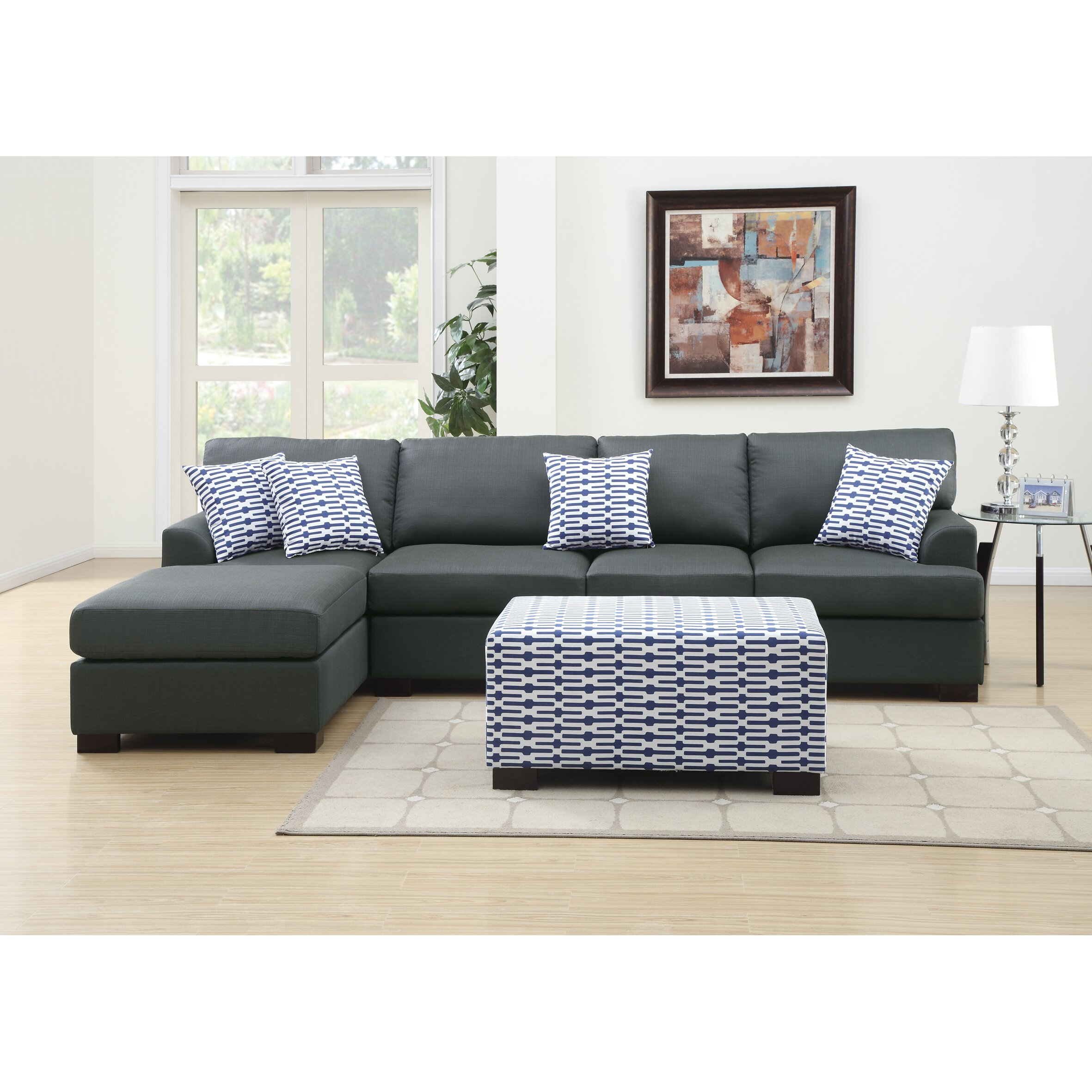 Poundex Sectional White Leather Sofa Chaise: Poundex Bobkona Cayden Reversible Chaise Sectional