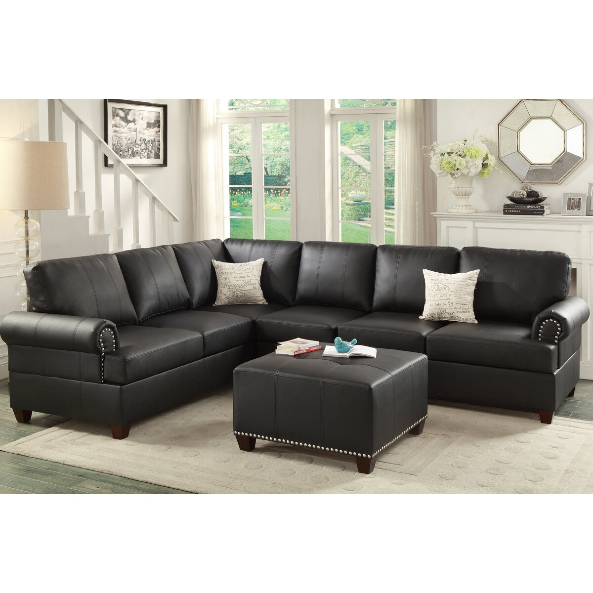 Poundex Sectional White Leather Sofa Chaise: Poundex Bobkona Cady Reversible Sectional & Reviews