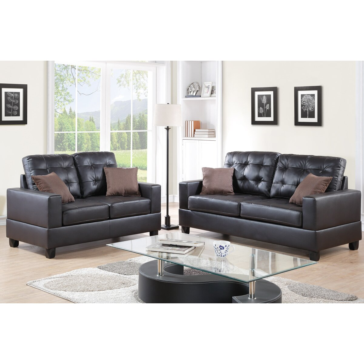 Bobkona aria 2 piece sofa and loveseat set wayfair for 2 piece furniture set