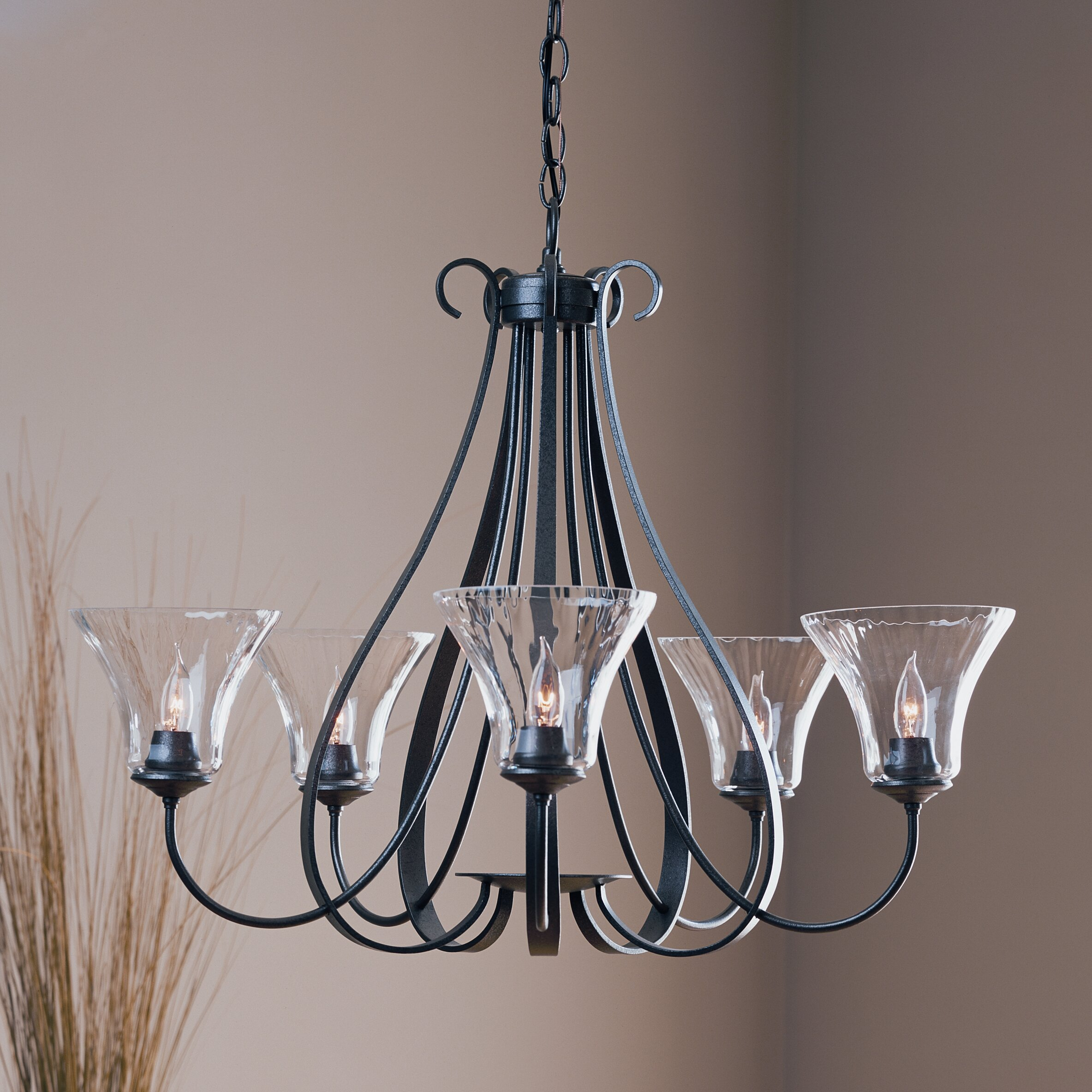 5 light chandelier with water glass shade wayfair for Dining room 5 light chandelier
