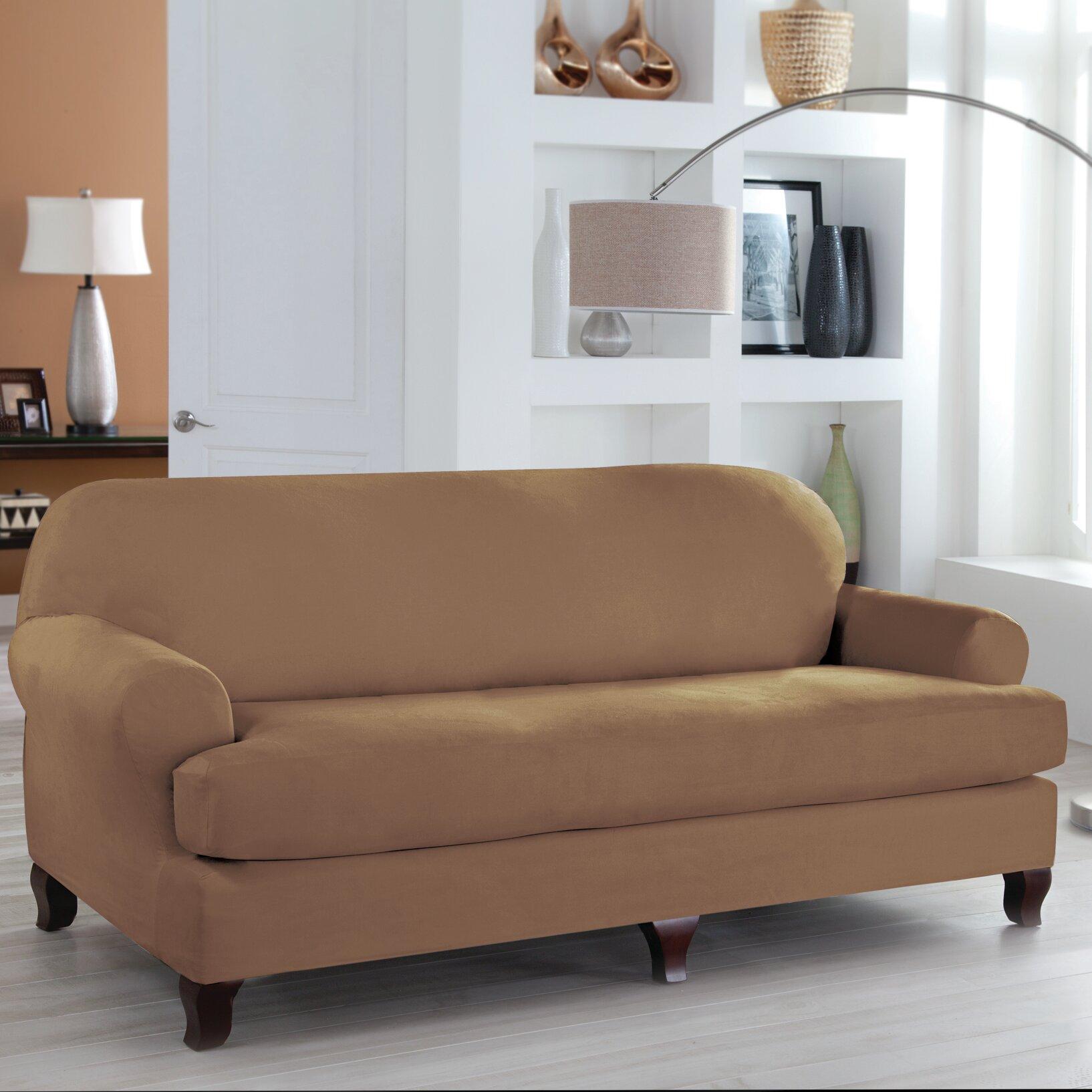tailor fit sofa t cushion slipcover wayfair. Black Bedroom Furniture Sets. Home Design Ideas