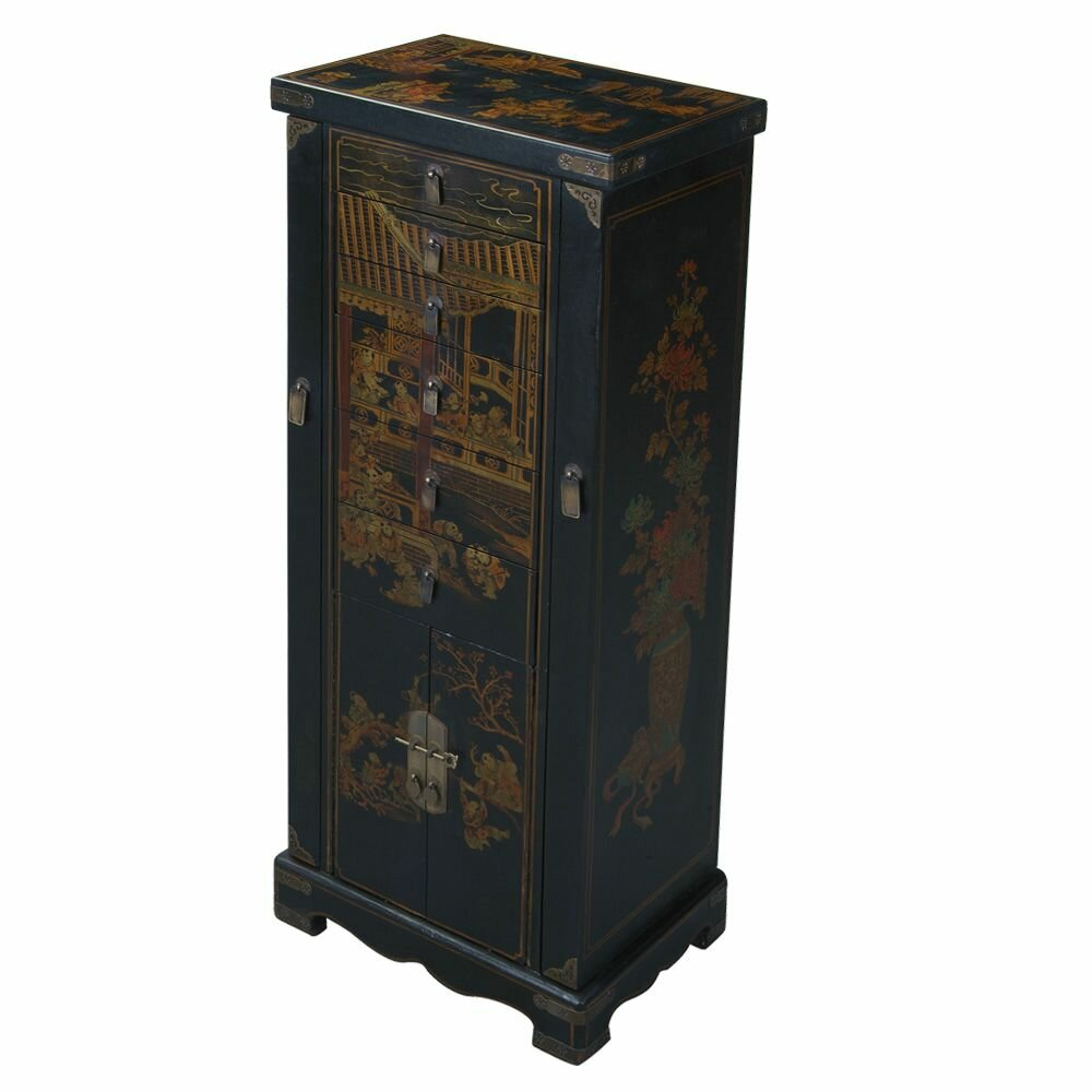 Handmade oriental antique style jewelry armoire wayfair for Oriental furniture and accessories