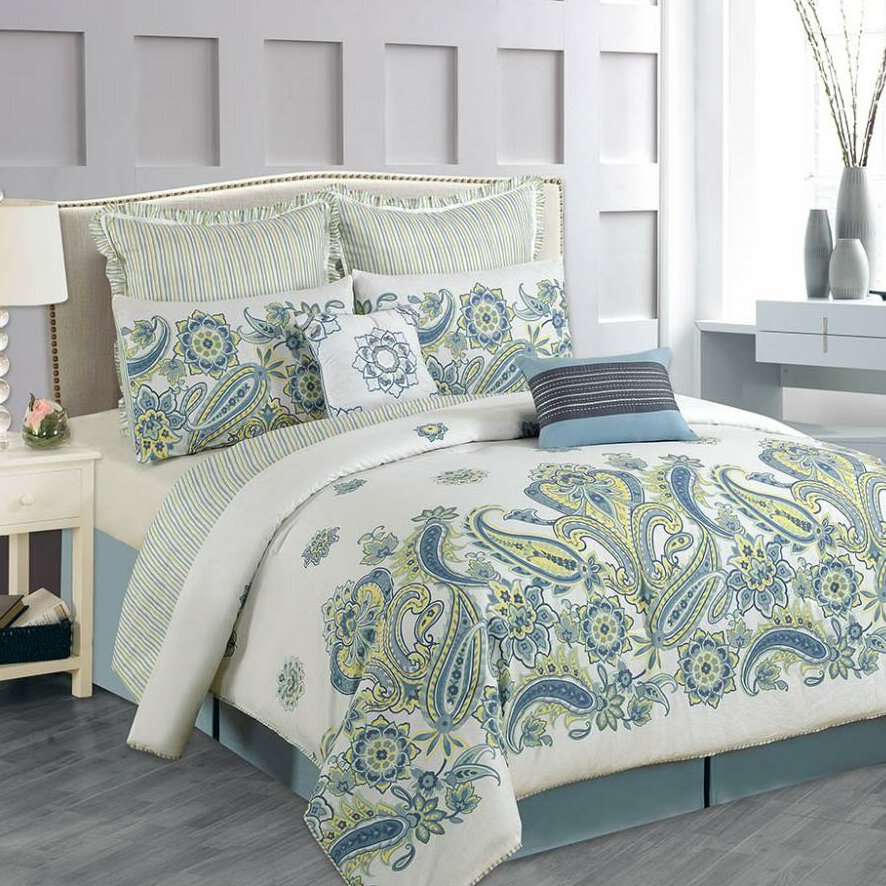 Paisley cotton 8 piece comforter set wayfair for Luxury cotton comforter sets