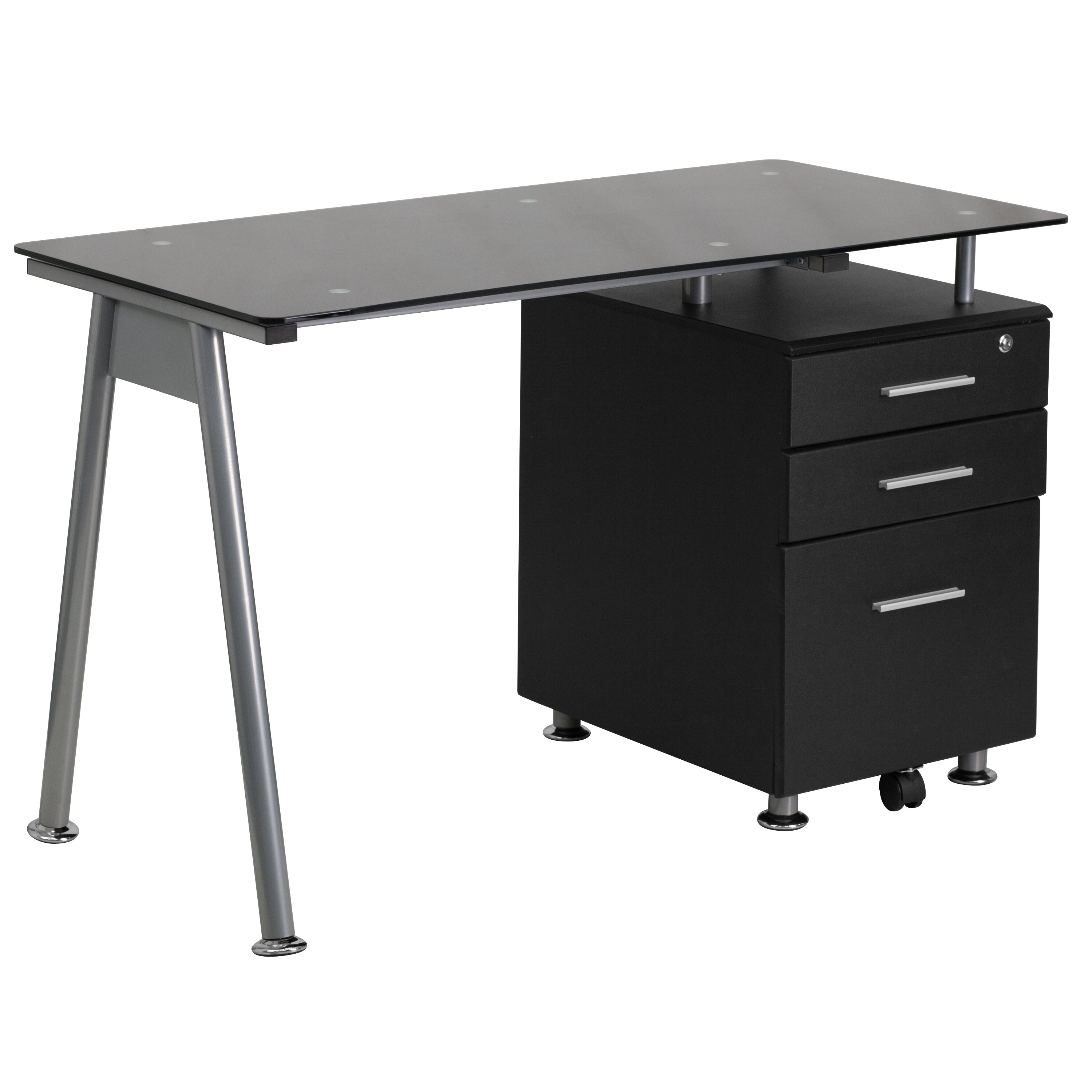 Computer Desk With 3 Drawer Pedestal Wayfair