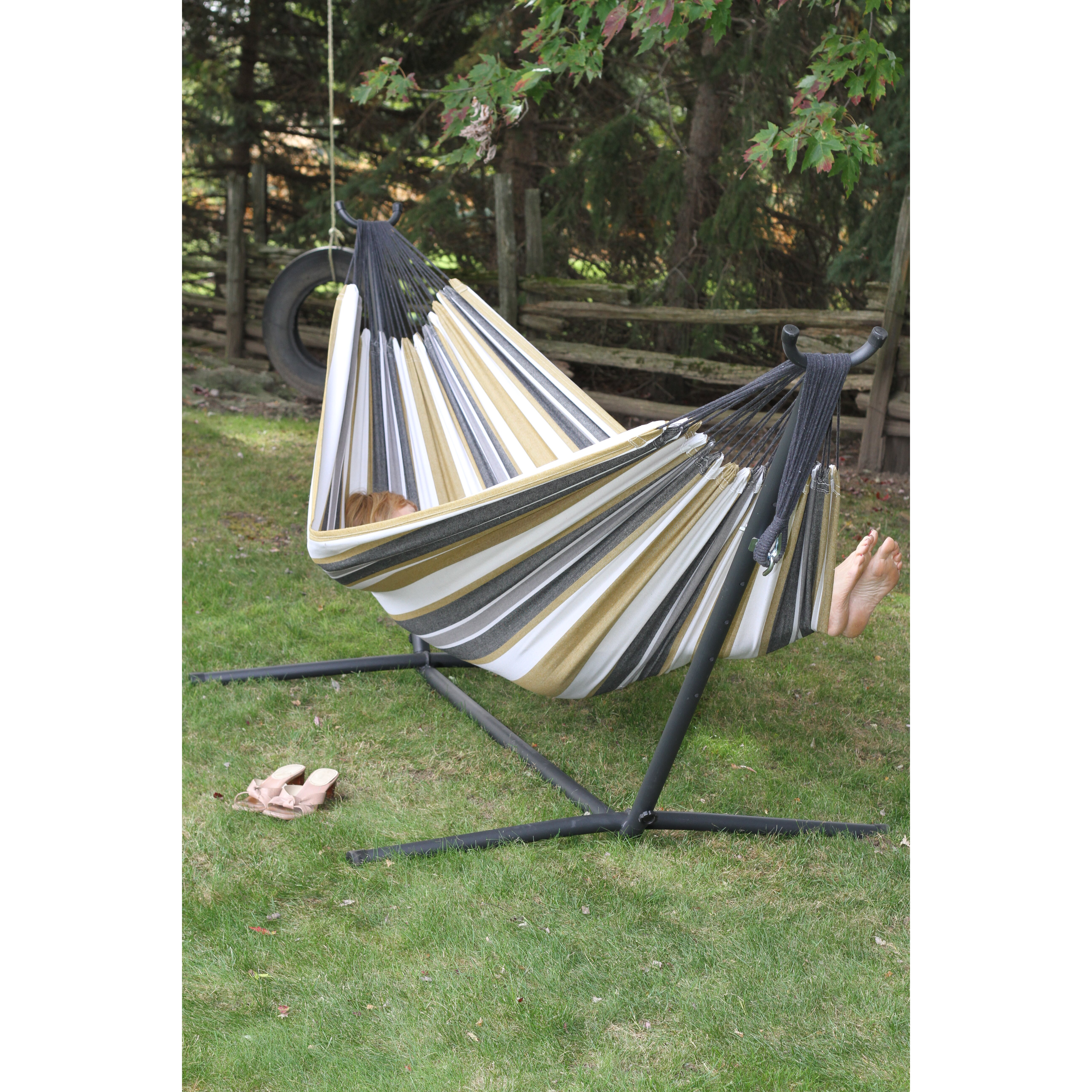 Backyard Hammock Reviews : Vivere Hammocks Fabric Hammock with Stand & Reviews  Wayfair