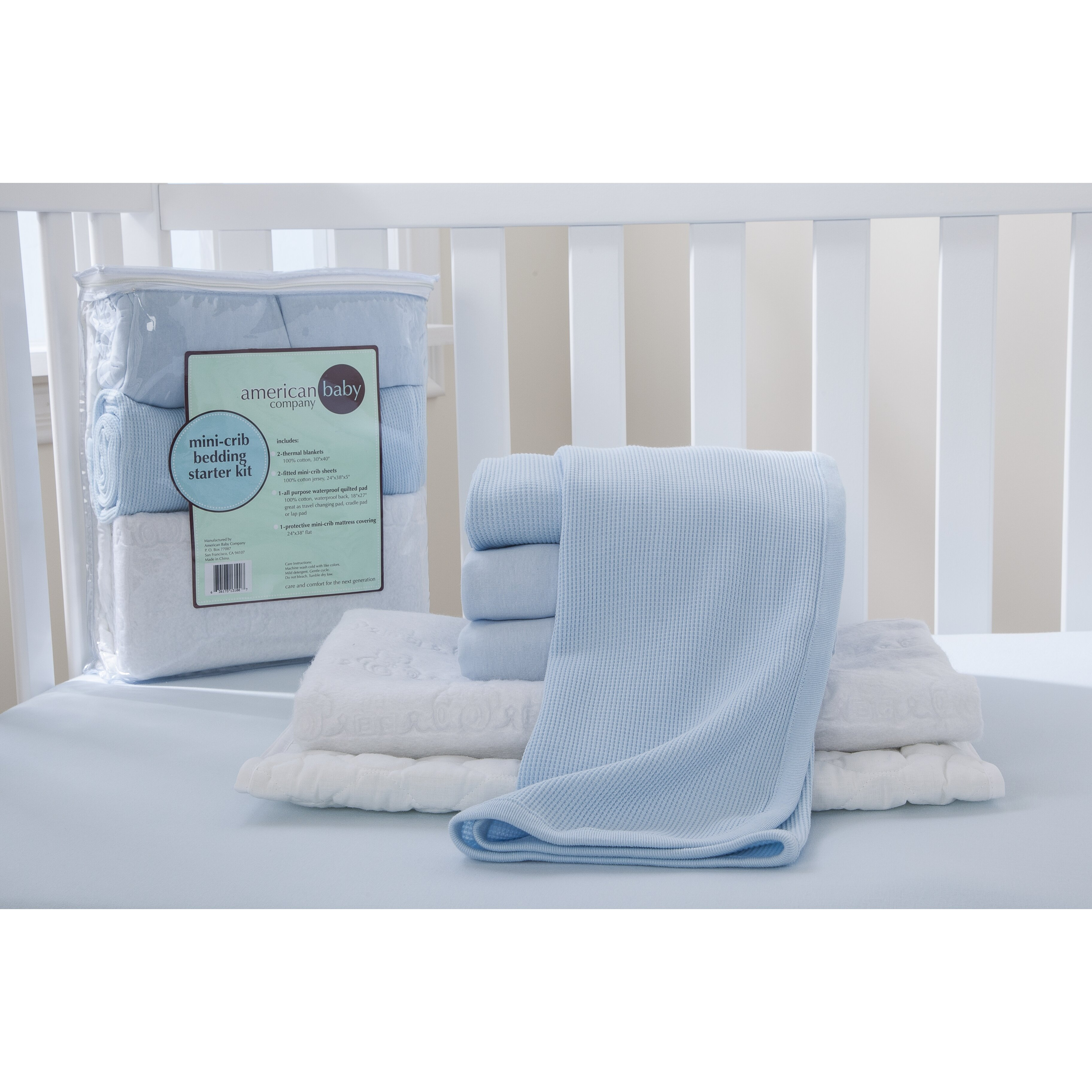 American baby company portable mini starter 6 piece crib for Starter bed